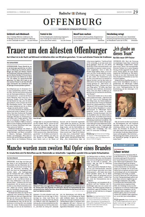 Kurt Erhart - Nachruf Offenburg